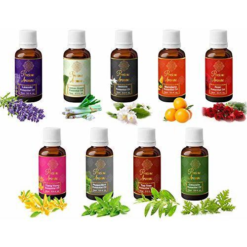 Precious Aromas Pure Lavender, Lemongrass, Jasmine, Mandarion, Rose, Ylang Ylang, Peppermint, Tea Tree and Citronella Essential Oils, 100% Natural and