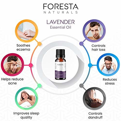 Foresta Naturals Lavender Essential Oil 15 ML - Pure and Natural for Healthy Skin and Hair - Relaxation, Calm and Restful Sleep