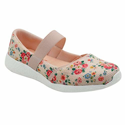 KazarMax Girls Air Cooled Memory Foam Latest Collection,Comfortable Ballet Flat's Peach Floral Printed Ballerinas/Bellies (Made in India) (Size: 28)