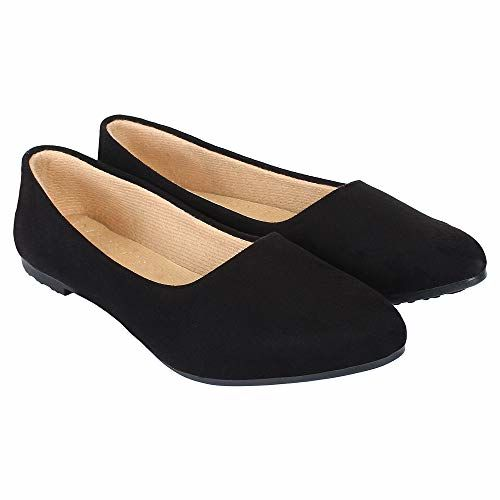 Footshez Casual and Formal Lycra Flat Bellies for Women's and Girl's Black