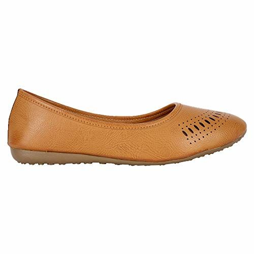 YAHE Latest Collection, Comfortable & Fashionable Ballet Flats Shoes for Womens and Girls Y-73 Tan Colour UK 8