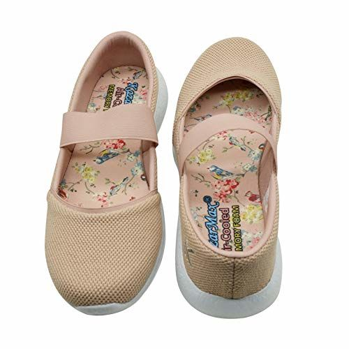 KazarMax Women's and Girl's Beige Air Cooled Memory Foam Latest Collection,Comfortable Ballet Flat's Ballerinas/Bellies (Made in India) Size:-38