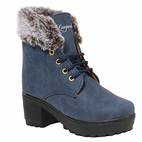 Longwalk Heeled High Ankel Girls Boots   Solid Syntheic Lather   Stylish & Comfortable   Casual Women Shoes   Blue