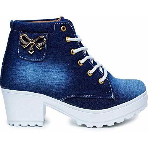 KRAFTER Women's High Ankle Denim Boots with Buckle (Dark Blue)