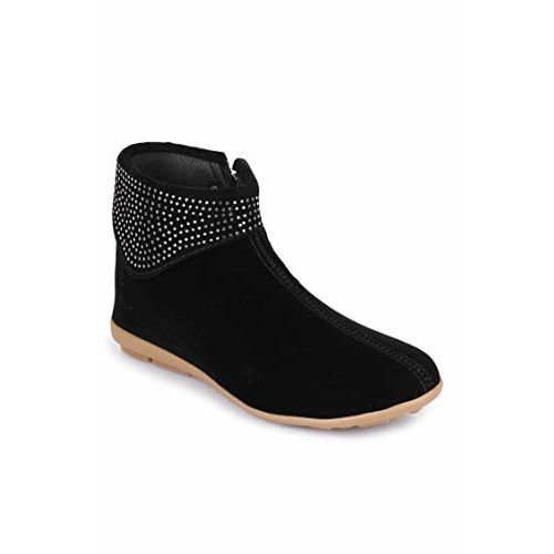 Shezone Beautiful Black color velvet material ankle lenth boots for women
