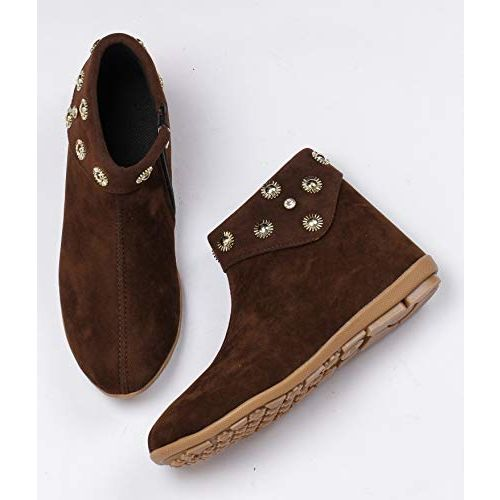 Shezone Beautiful Brown Color Velvet Material Ankle Lenth Boots for Women from GF_002_Brown_42
