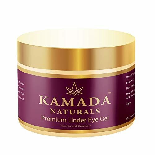 Kamada Naturals Under eye cream gel for dark circles, anti aging formula to reduce wrinkles, eye bags, puffiness with moisturizing cucumber for sensitive and