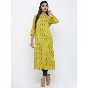 KIPEK Yellow Ikat Printed Straight Kurta