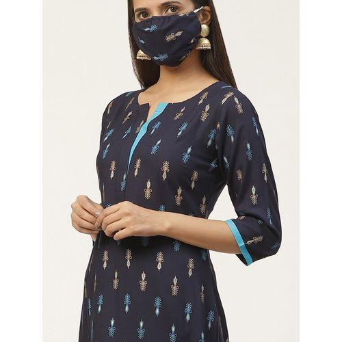 GERUA printed straight kurta with mask