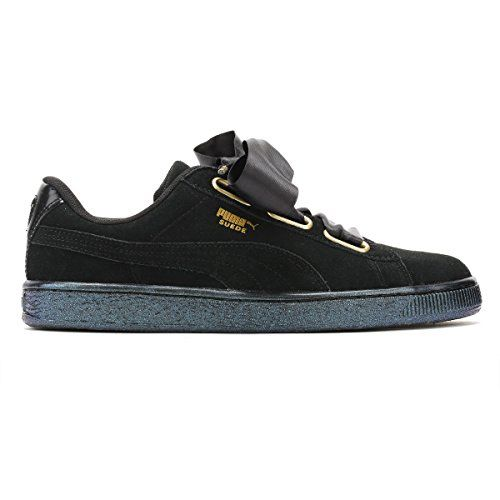 Puma Women's Suede Heart Satin WN's Black Leather Sneakers - 5 UK/India (38 EU) (36271403)