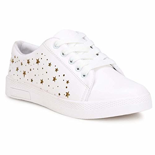 BUCADIA Denill Latest Collection, Comfortable & Fashionable Sneaker Shoes for Women's and Girls Pink Color (5, White)