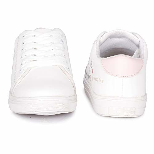 Krafter Women's White & Pink Sneaker -8 UK