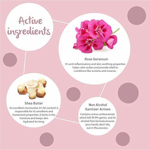 Dot & Key Hand Cream : Sanitizer + moisturizer (Rose Geranium & Shea), alcohol free sanitizer plus hand cream for women and men - Paraben Free