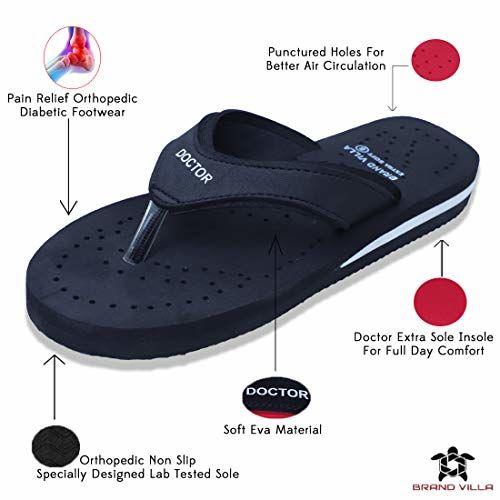 brandvilla Super Soft Doctor Ortho Slippers for Women (Black, Size: 8)