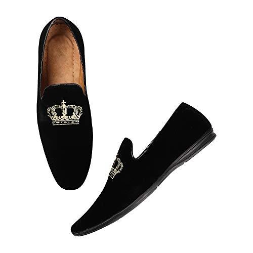 Kanoor Black Velvet Slip On Loafer