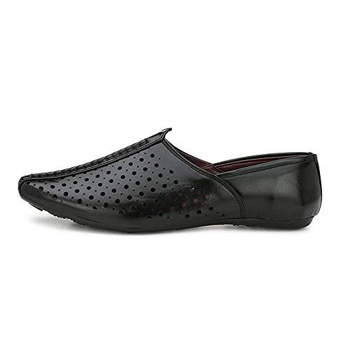 VON HUETTE Black Faux Leather Slip On Ethnic Shoes