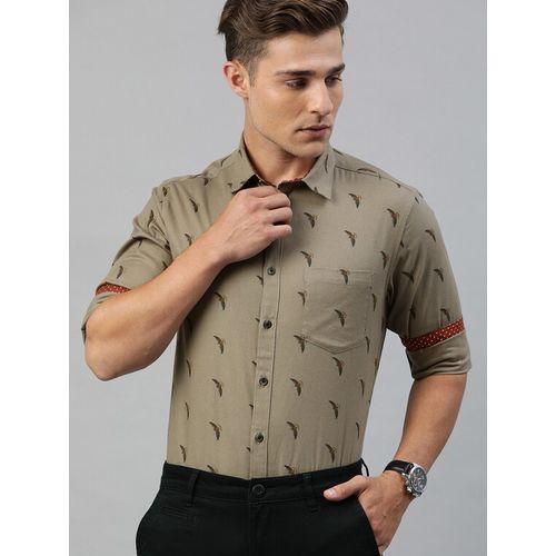 TrueModa beige printed casual shirt