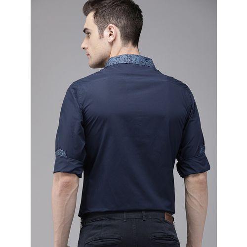 TrueModa navy blue solid casual shirt