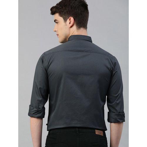 TrueModa grey solid casual shirt