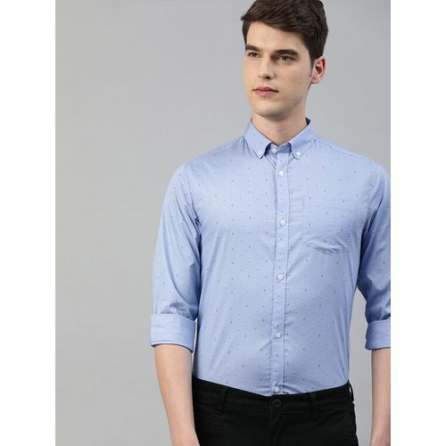 TrueModa blue printed casual shirt