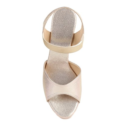 Shezone gold synthetic back strap sandals