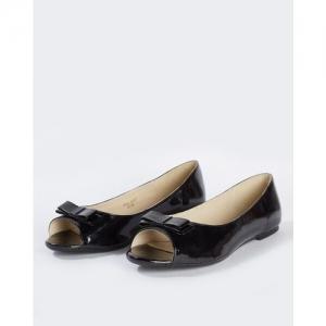Carlton London Textured Peep-Toe Ballerinas