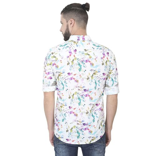 GUNIAA white floral print casual shirt