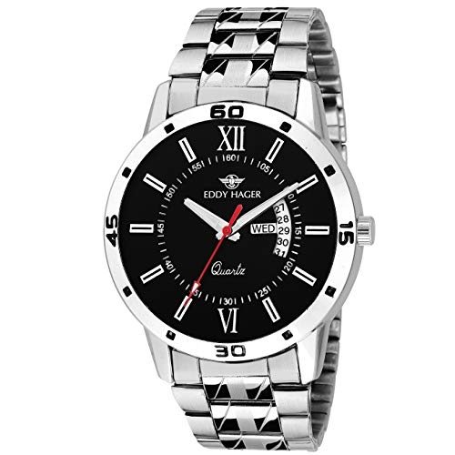 Eddy Hager Round Stainless Steel Analog Watch