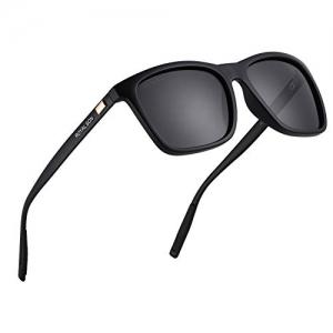 Royal Son Black Retro Square Polarized Sunglasses