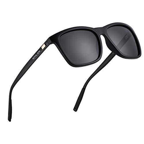 Royal Son Black Retro Square Polarized Sunglasses