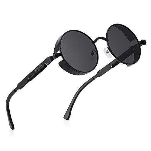 Royal Son Black Unisex Round Steampunk Sunglasses