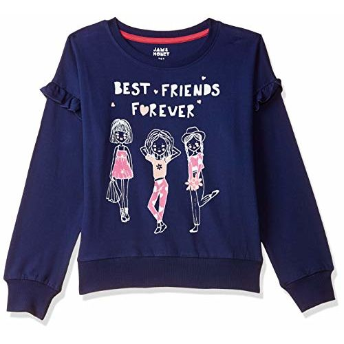 Amazon Brand - Jam & Honey Girls' Lightweight Sweatshirt