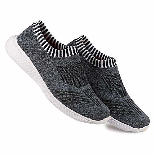 Kraasa SocksFit Running Shoes for Men Black UK 6