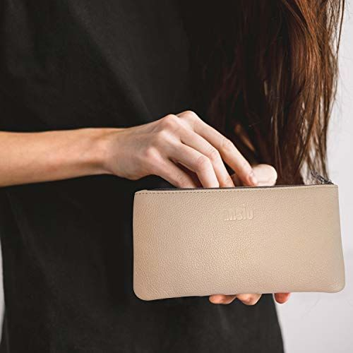 ANSIO Leather Handbag Purse or Clutch for Ladies, 100% Geniune Leather- Blush