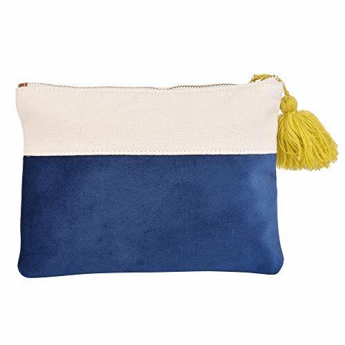 Dhaaga Threads Women Saying Beach Travel Mini Zipper Handbag Pouch, Clutch Bag, Hand Purse (Blue)