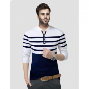 Tripr Multi Colour Cotton Striped Henley Full Sleeve T-Shirts