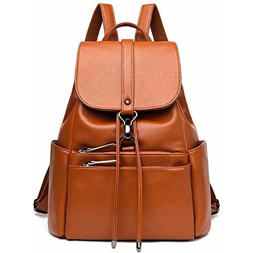 SkyTheme Brown Anti-Theft Backpack