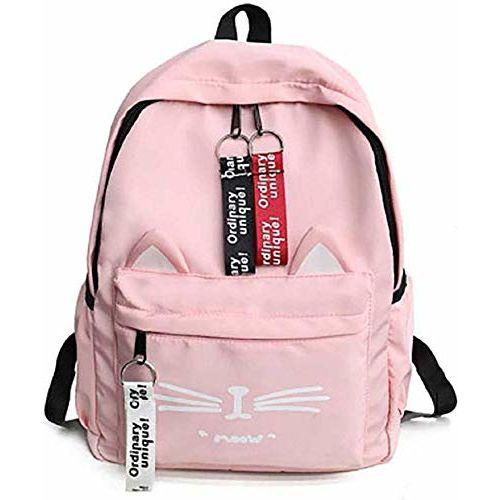 POSSHUSA Pink PU Leather Casual Backpacks