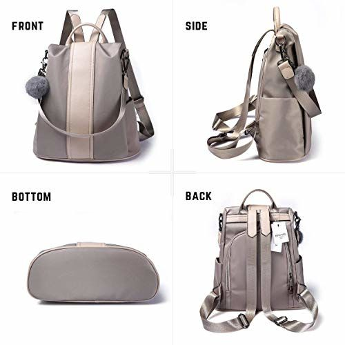 Posshusa Khakhi Nylon Pu leather Anti-Theft Backpack