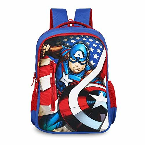 Priority Disney Marvel Captain America 40 litres Blue Polyester School Bag | Casual Backpack for Boy's & Girl's (Titan HD 002-25132)
