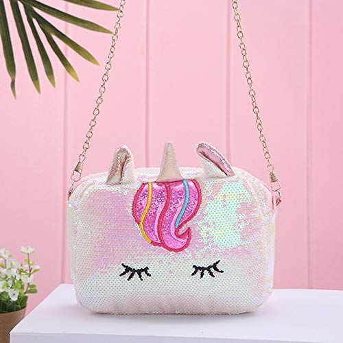 Aashiya Trades Girl's Kids Canvas Glitter Sequin Unicorn Character Sling Bag