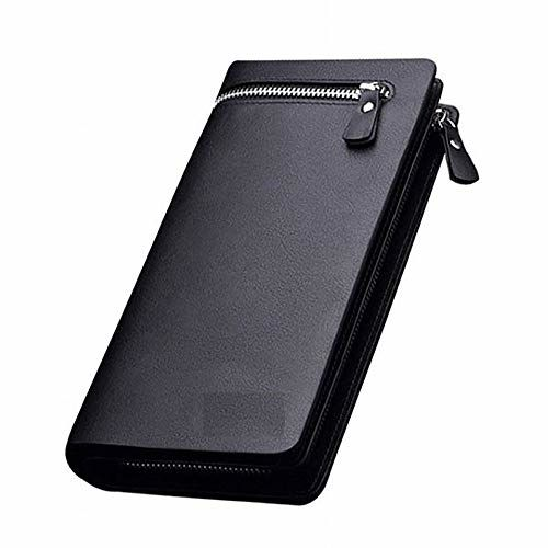 ESnipe Mart Men and Women Designer Long Black Zipper Wallet (Black)