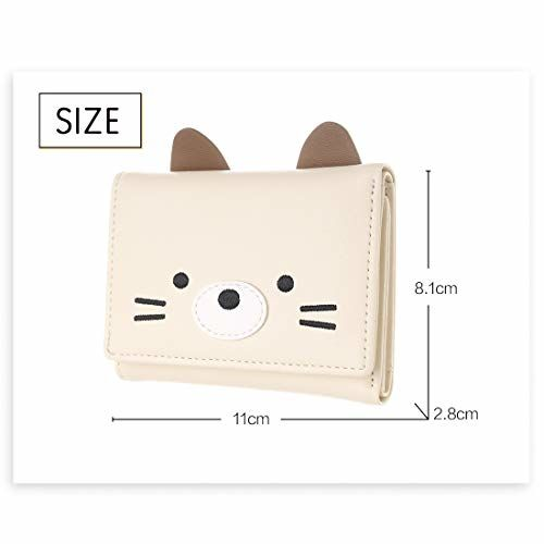 MINISO Small Cute Wallet Purse Clutch with Card Slots for Girls,Women,Ladies (Beige)