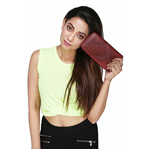 Tierra Genuine Leather Reddish Brown Ladies Clutch/Wallet with Coin Pocket Card Slot and Mobile Space