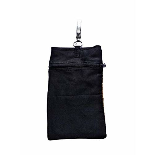 Crayton Black Cotton Mobile Pouch