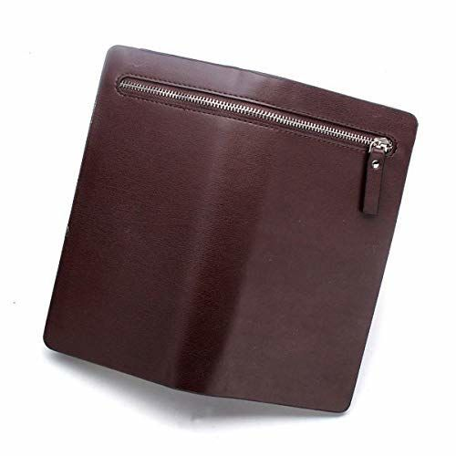 Farraige Men and Women Designer Long Brown Zipper Wallet Leather Long Clutch Wallets Bag/Business Big Capacity Wallet