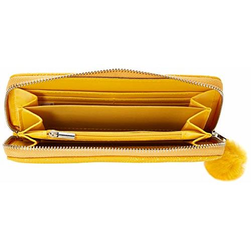 MAX Yellow Quilted Pom-Pom Ball Zip-Around Wallet