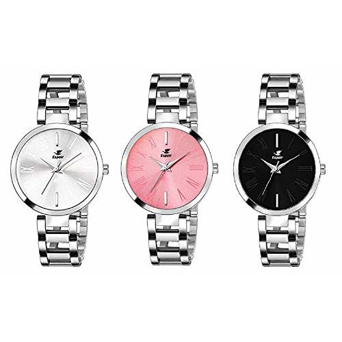 Espoir Analog Stainless Steel Combo Pack of 3 Multi Colour Dial Girl's and Women's Watch - Manisha Combo White Pink Black