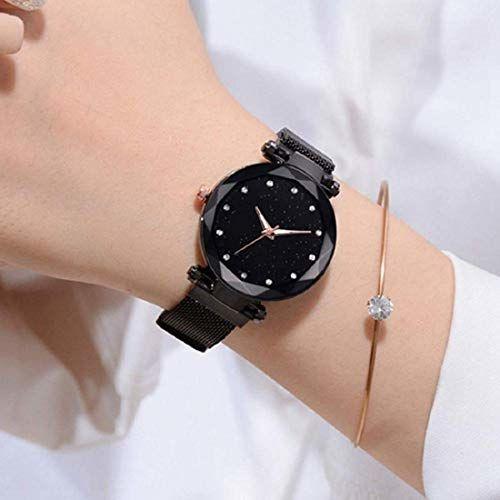 Mr. Brand Mr. Brand Casual Designer Black Dial Magnet Watch - for Girls & Women (Black)