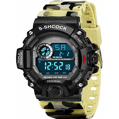 CERO Army Multi-Color Kids Digital Watch for Men's & Boy's (Beige)
